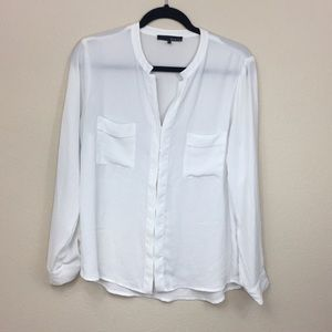 Ro & De Off White Front Pocket Sheer Blouse Size M
